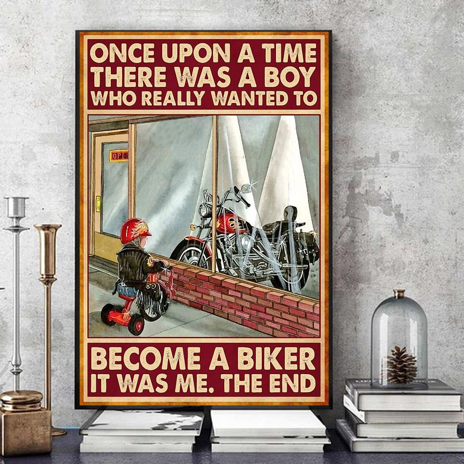 A boy who really wanted to become a biker canvas art