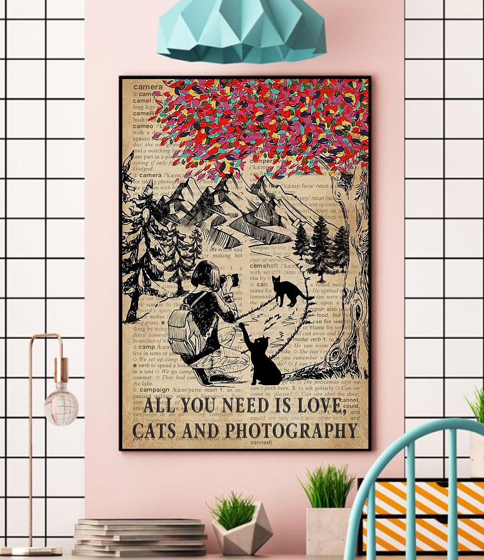 All you need is love cats and photography poster wall