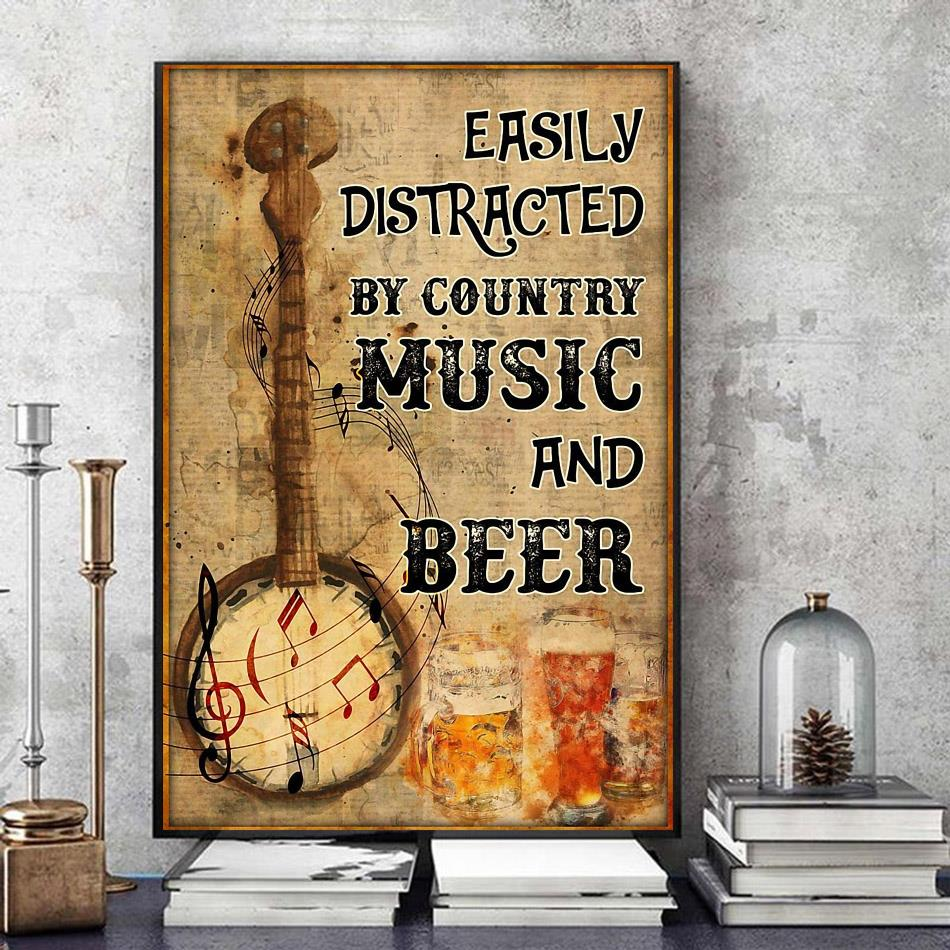 Banjo easily distracted by music and beer poster art