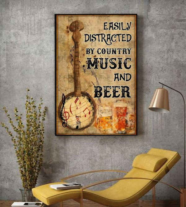 Banjo easily distracted by music and beer poster decor