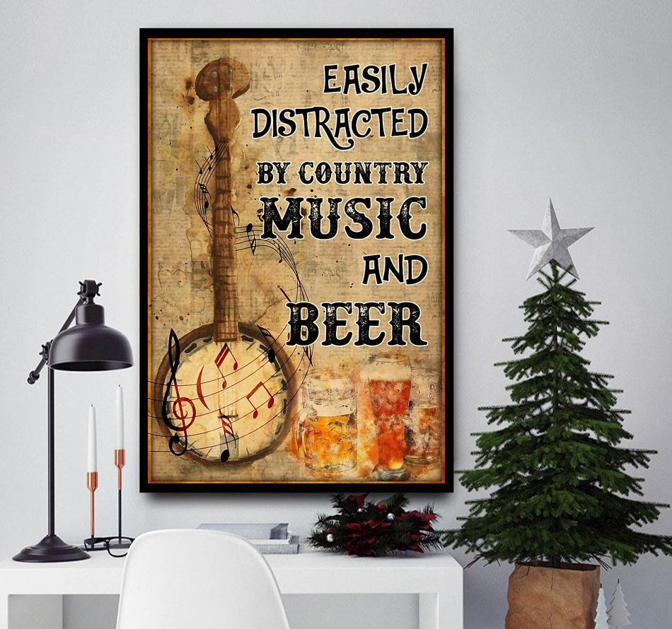 Banjo easily distracted by music and beer poster