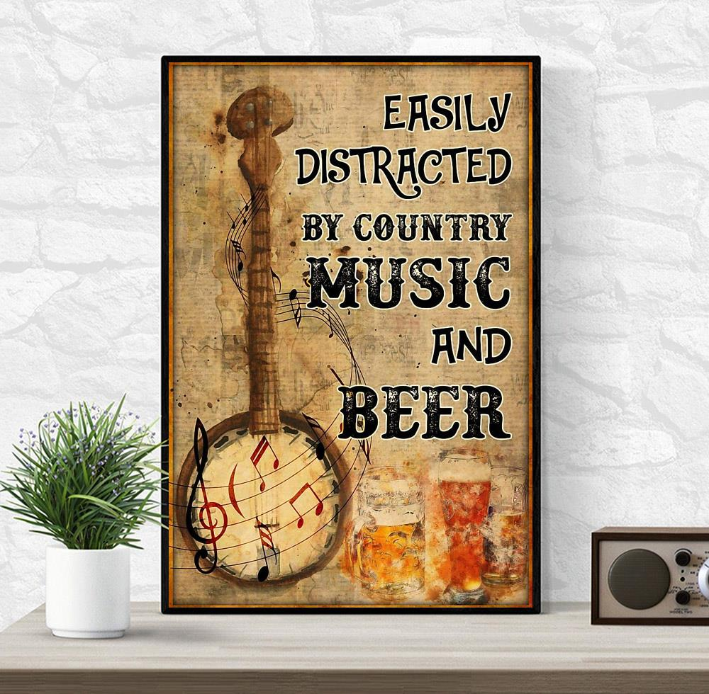 Banjo easily distracted by music and beer poster wrapped