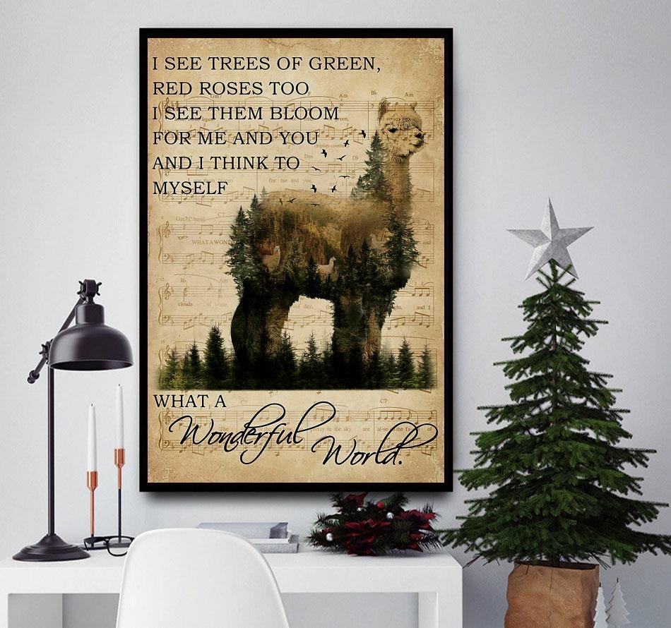 Beautiful Alpaca what a wonderful world poster