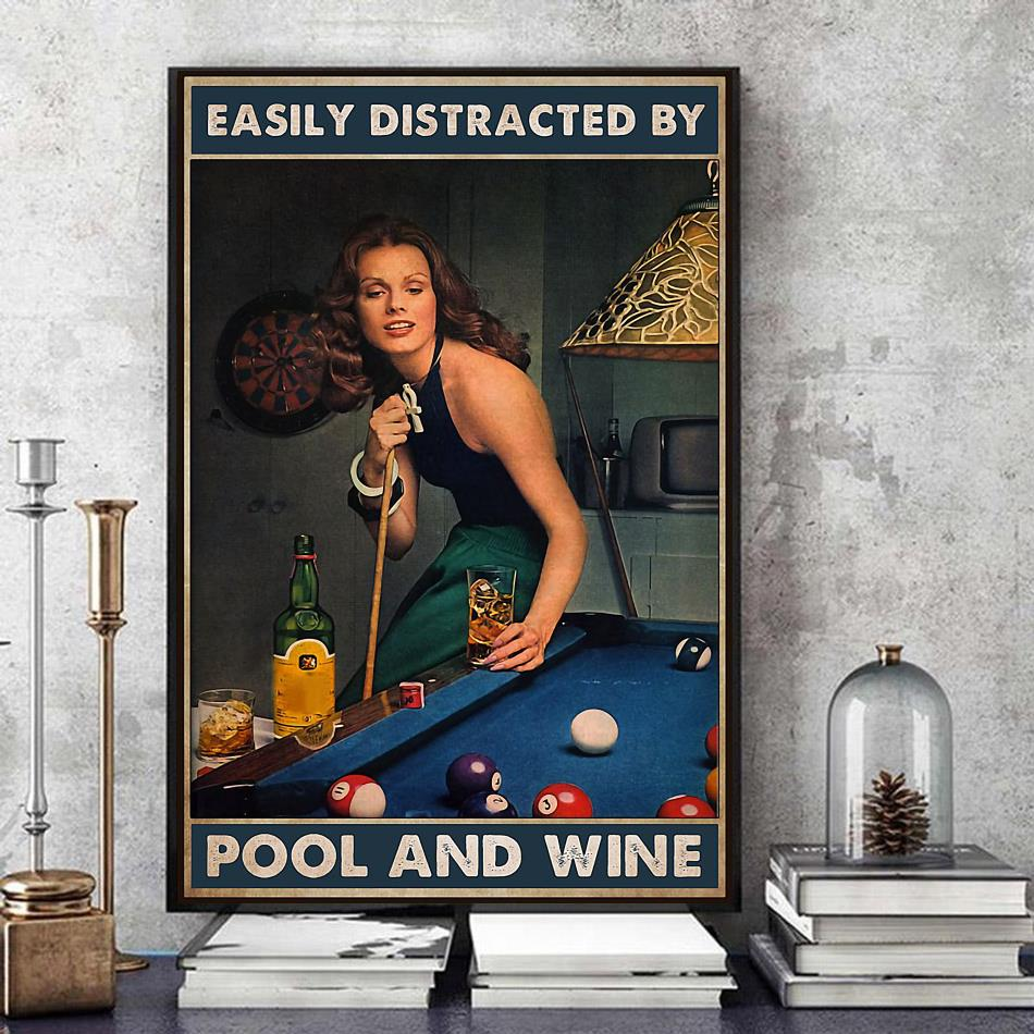 Beautiful lady easily distracted by pool and beer poster art
