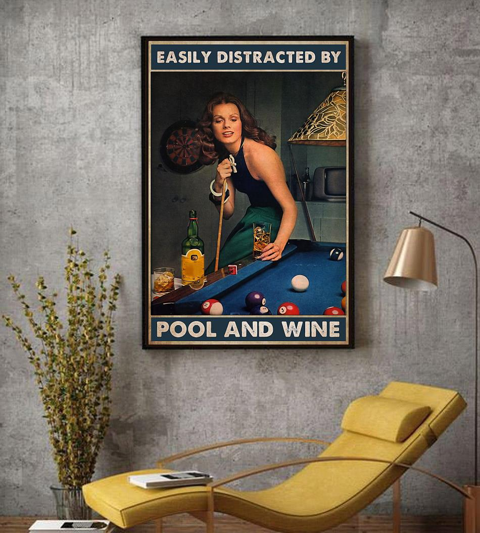 Beautiful lady easily distracted by pool and beer poster decor