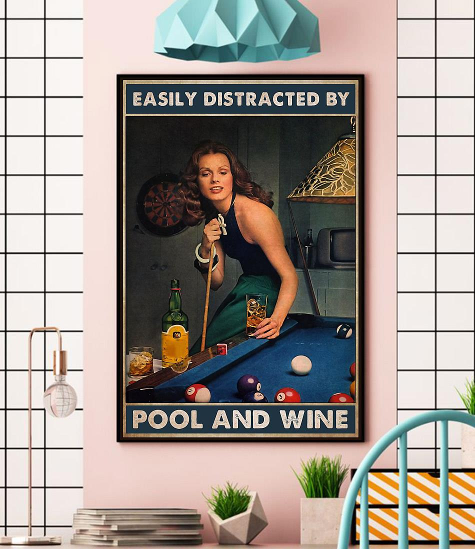 Beautiful lady easily distracted by pool and beer poster wall