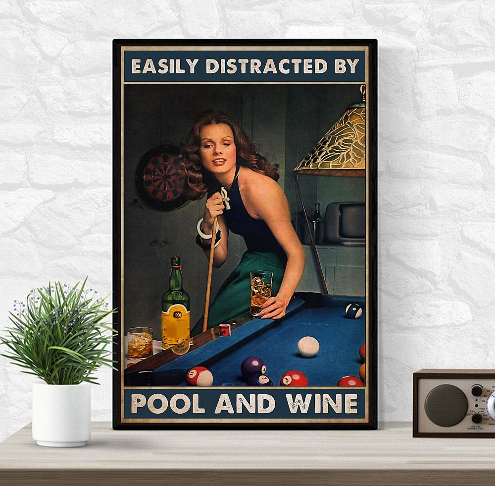 Beautiful lady easily distracted by pool and beer poster wrapped