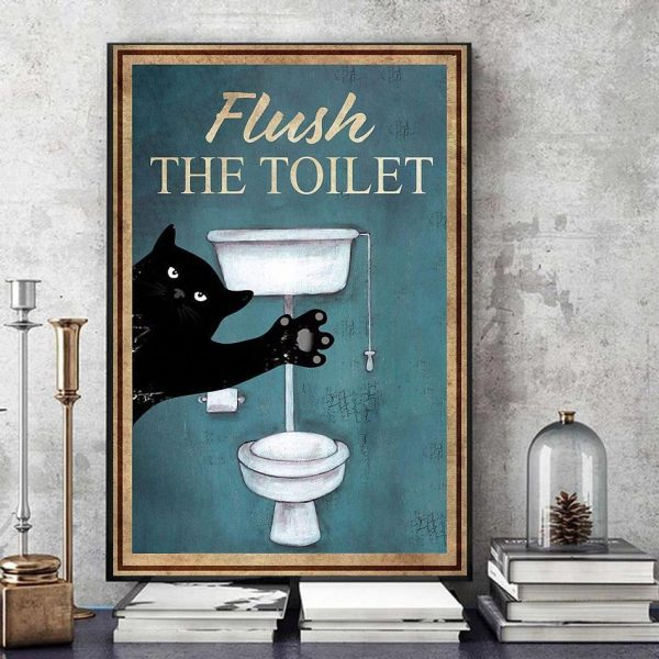 Black cat flush the toilet canvas art