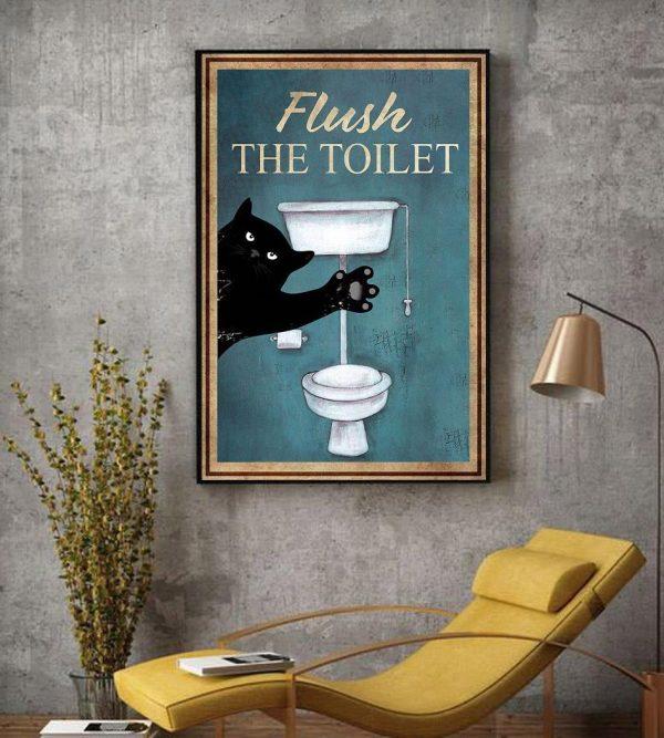 Black cat flush the toilet canvas decor