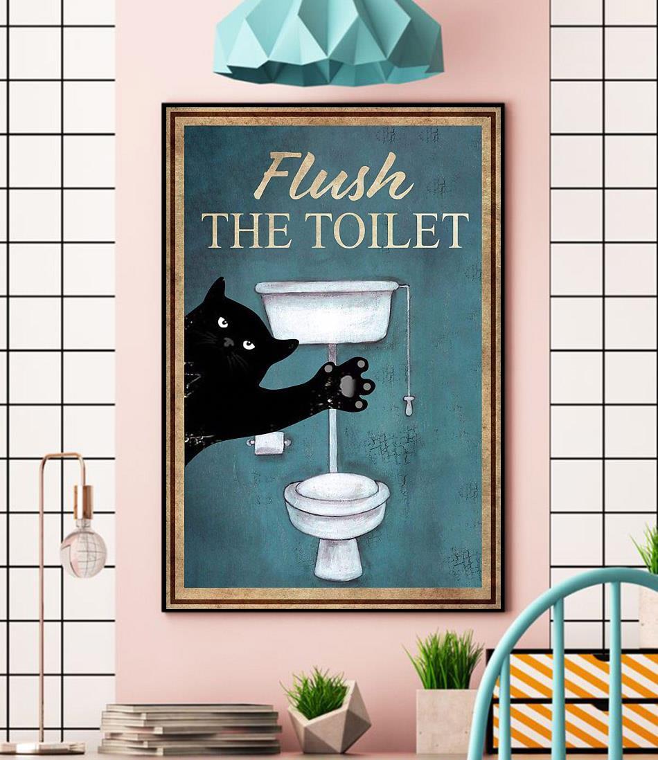 Black cat flush the toilet canvas wall