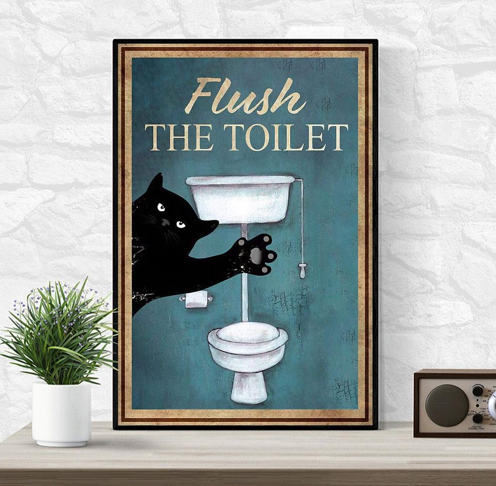 Black cat flush the toilet canvas wrapped