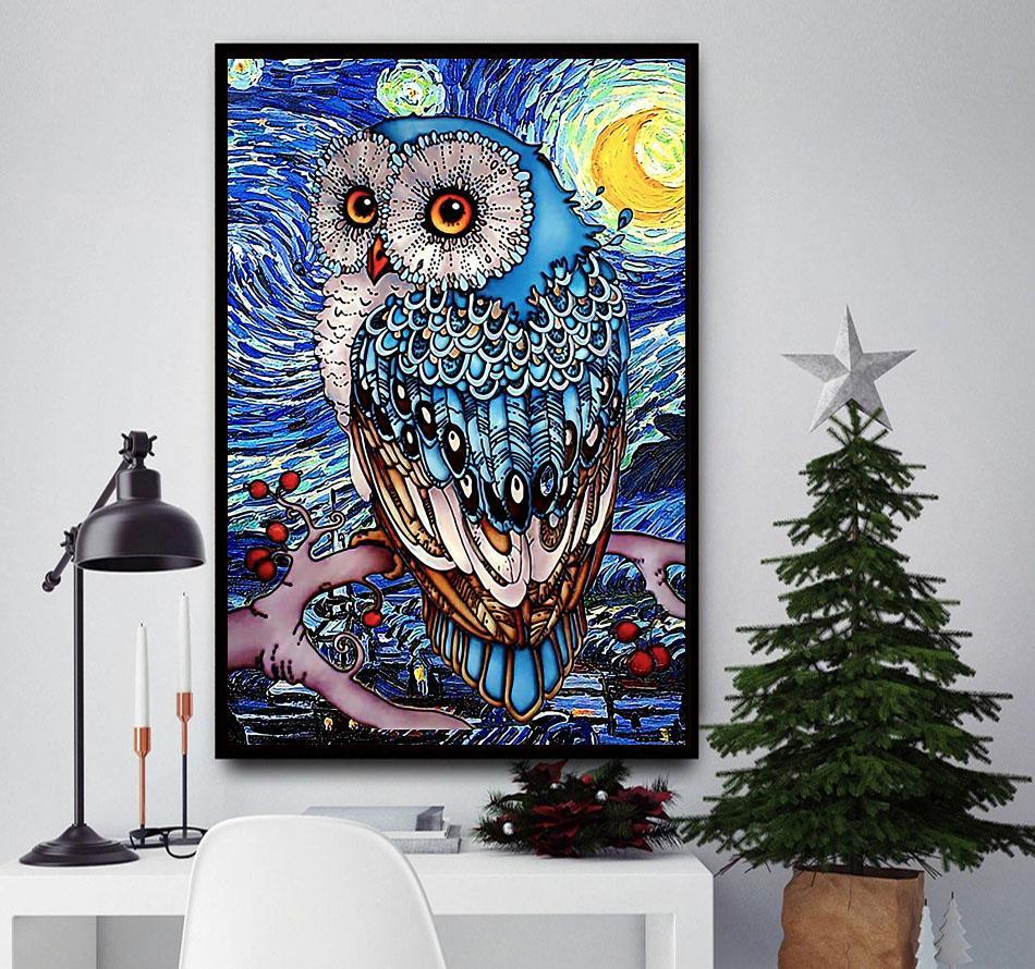 Blue Starry Night Owls print canvas