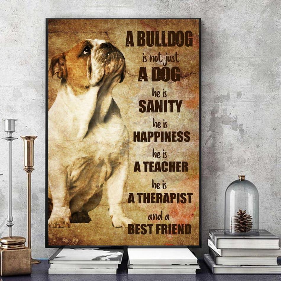 Bulldog therapist and best friend vertical poster art