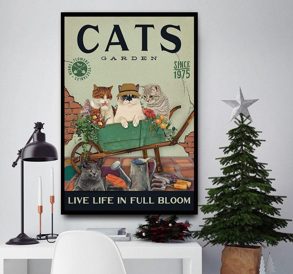 Cats garden live life in full bloom poster