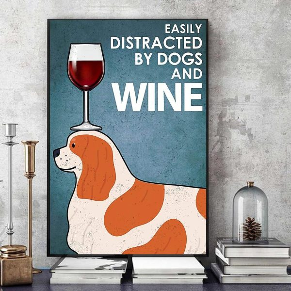 Cavalier easily distracted by dogs and wine canvas art
