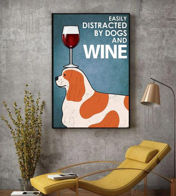 Cavalier easily distracted by dogs and wine canvas decor