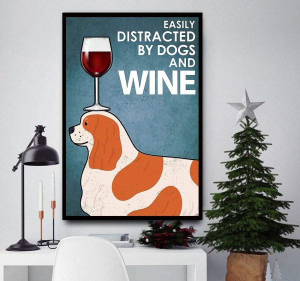 Cavalier easily distracted by dogs and wine canvas