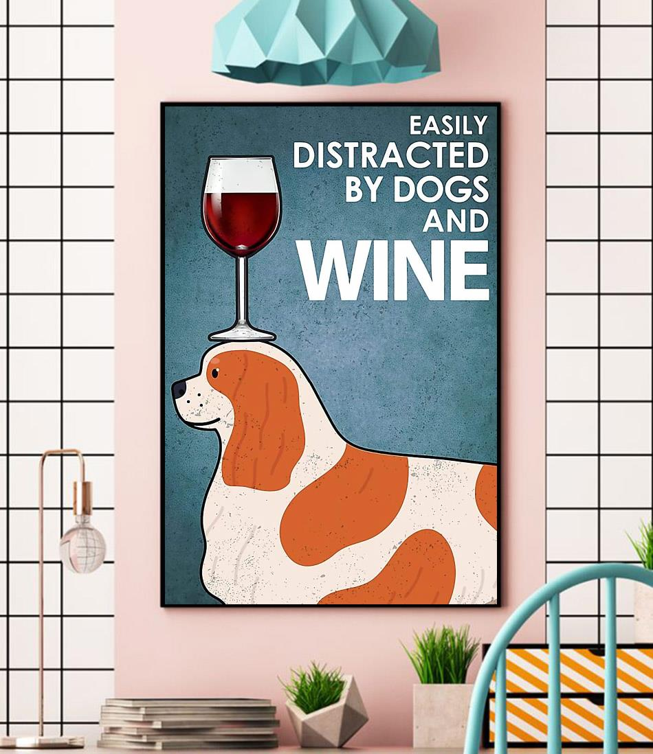 Cavalier easily distracted by dogs and wine canvas wall