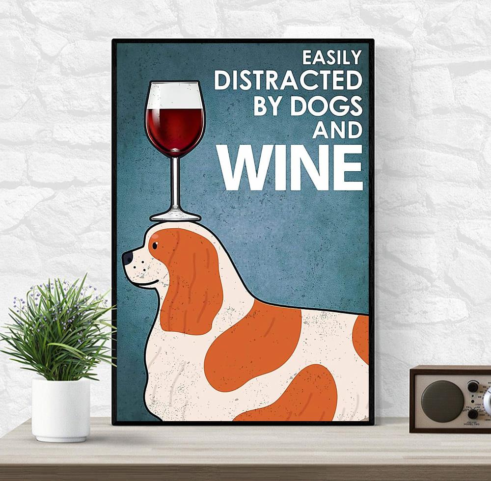 Cavalier easily distracted by dogs and wine canvas wrapped