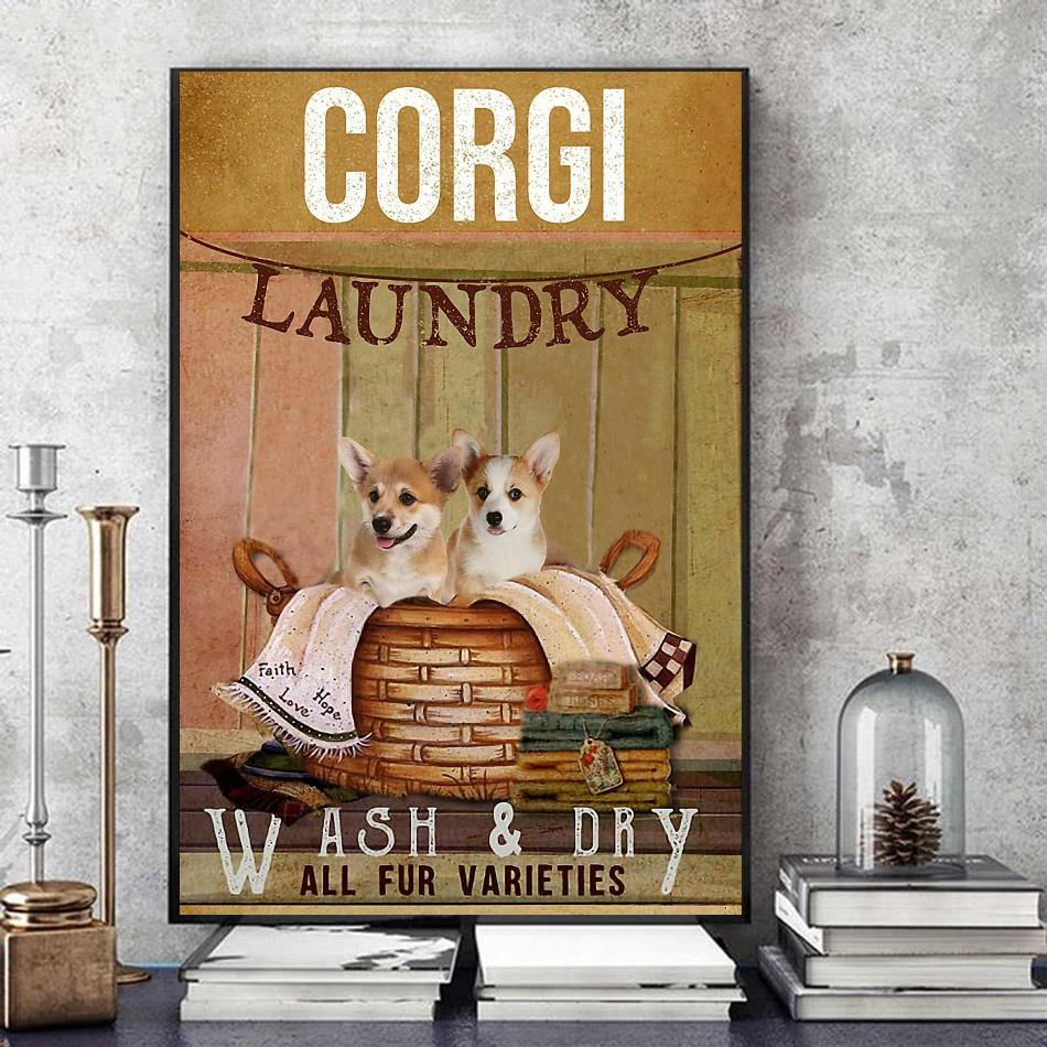 Corgi laundry wash and dry poster canvas art