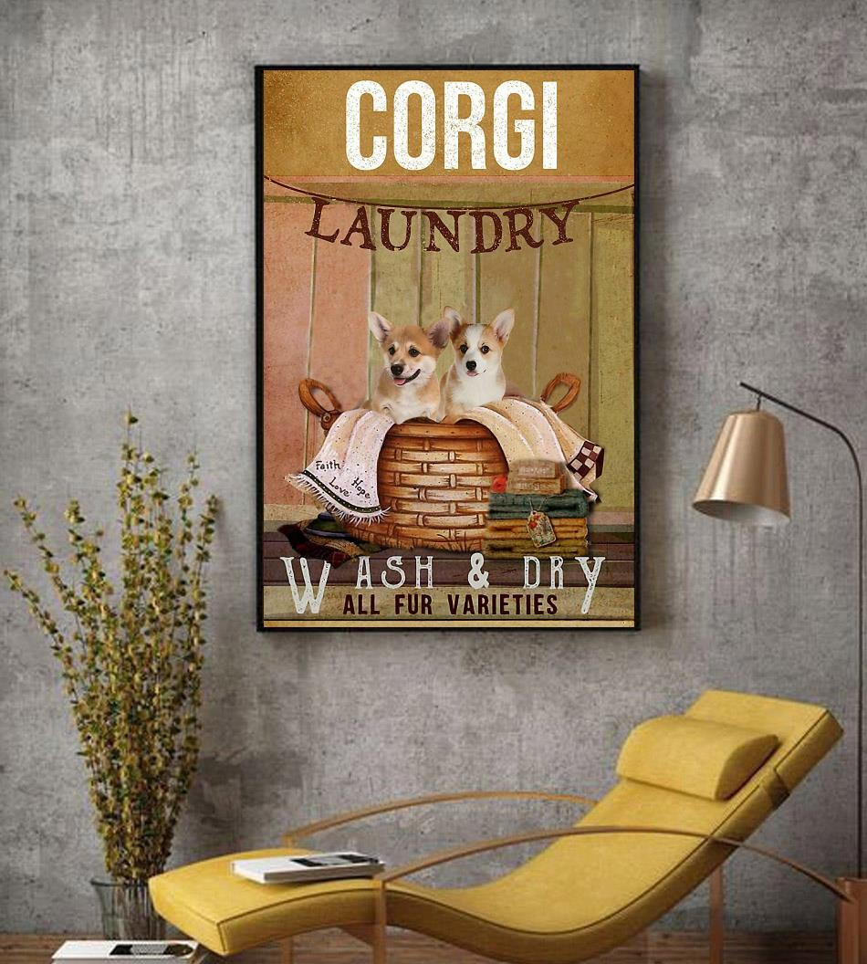 Corgi laundry wash and dry poster canvas decor