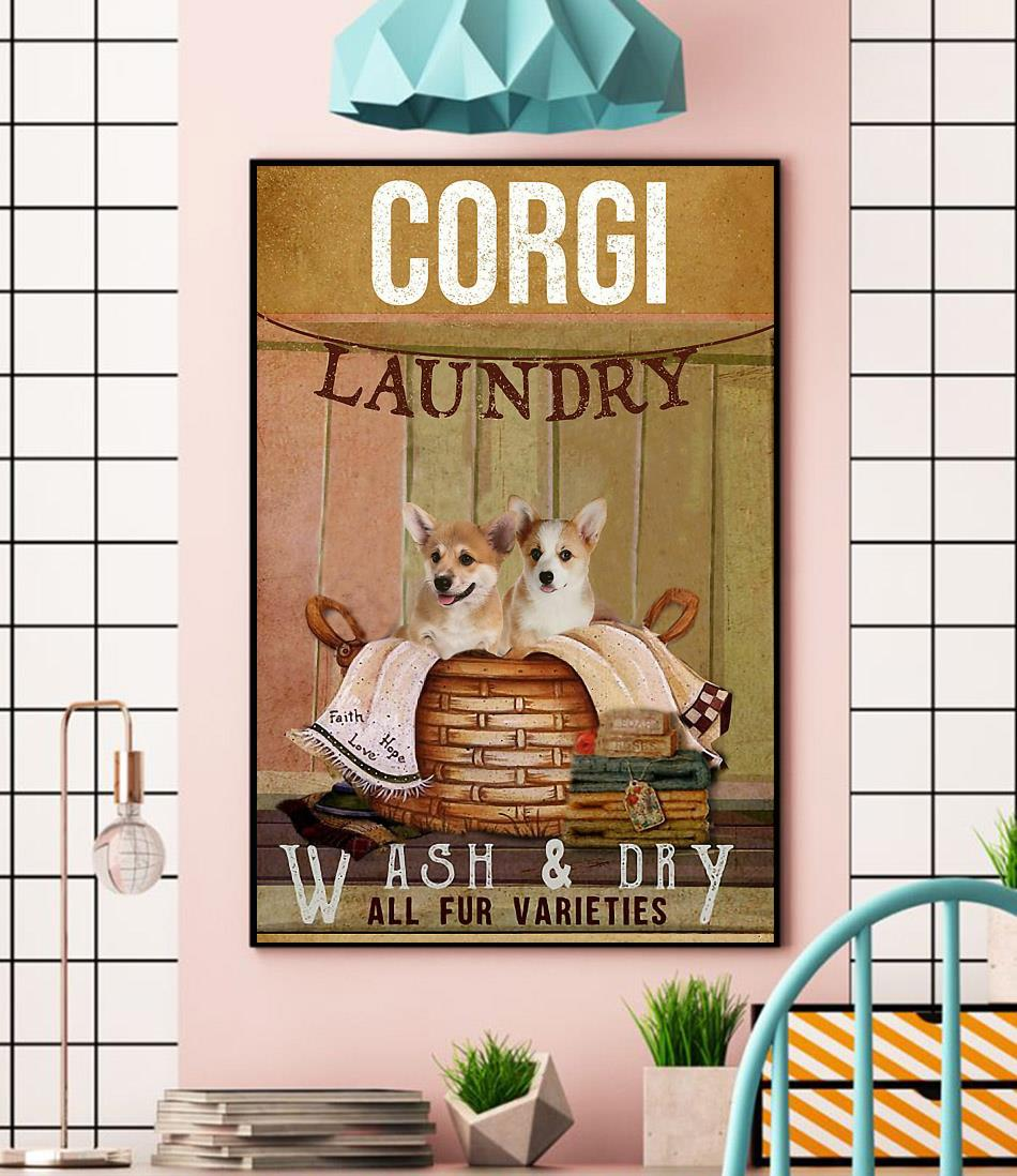 Corgi laundry wash and dry poster canvas wall