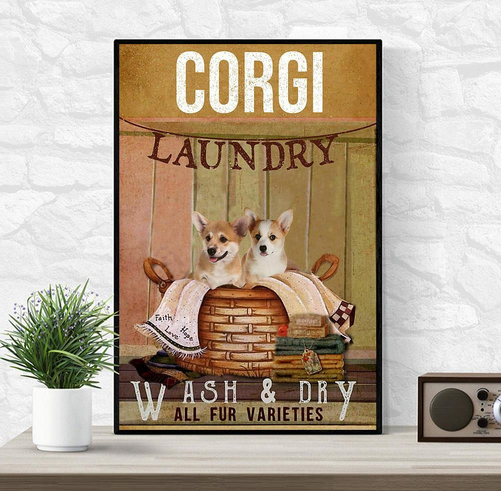 Corgi laundry wash and dry poster canvas wrapped