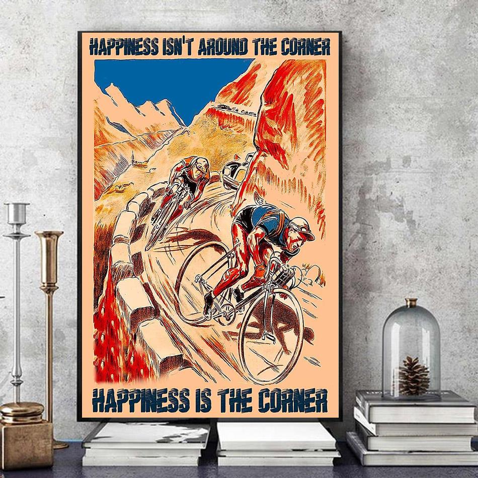 Cycling mountain happiness is the corner poster canvas art