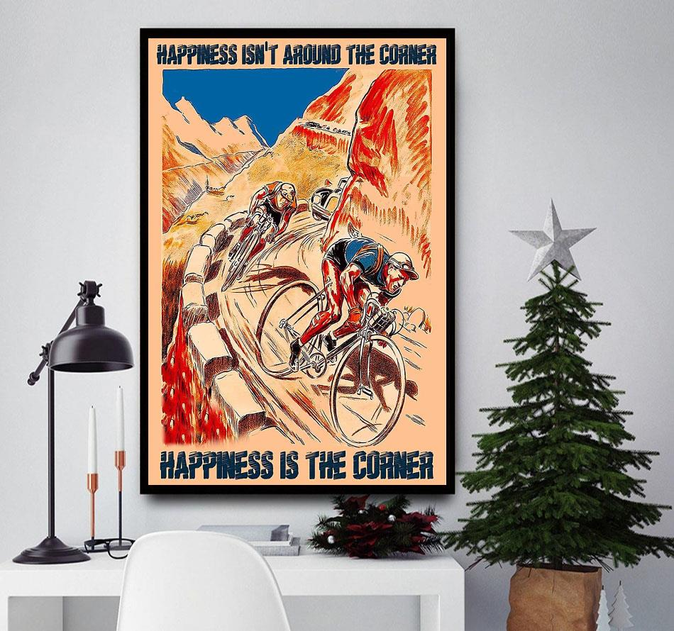 Cycling mountain happiness is the corner poster canvas