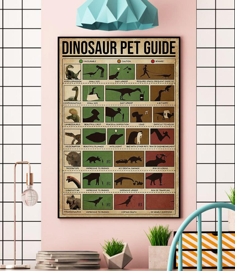 Dinosaur Pet Guide poster canvas wall
