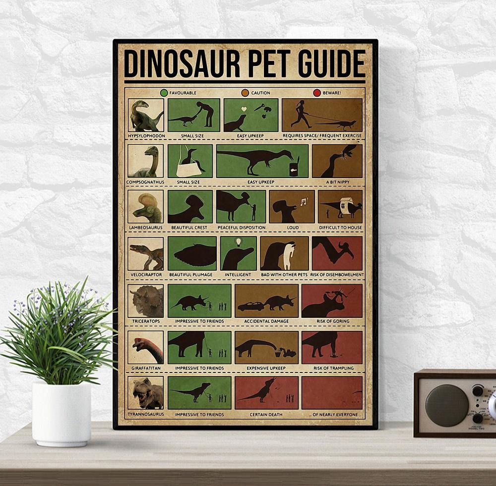 Dinosaur Pet Guide poster canvas wrapped