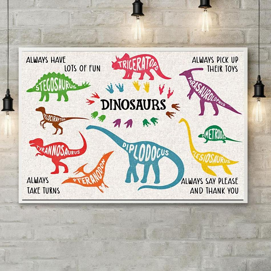 Dinosaurs alway say please and thank you horizontal canvas