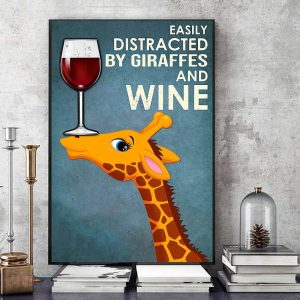Easily distracted by Giraffes and wine canvas art
