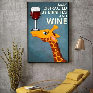 Easily distracted by Giraffes and wine canvas decor