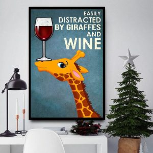 Easily distracted by Giraffes and wine canvas