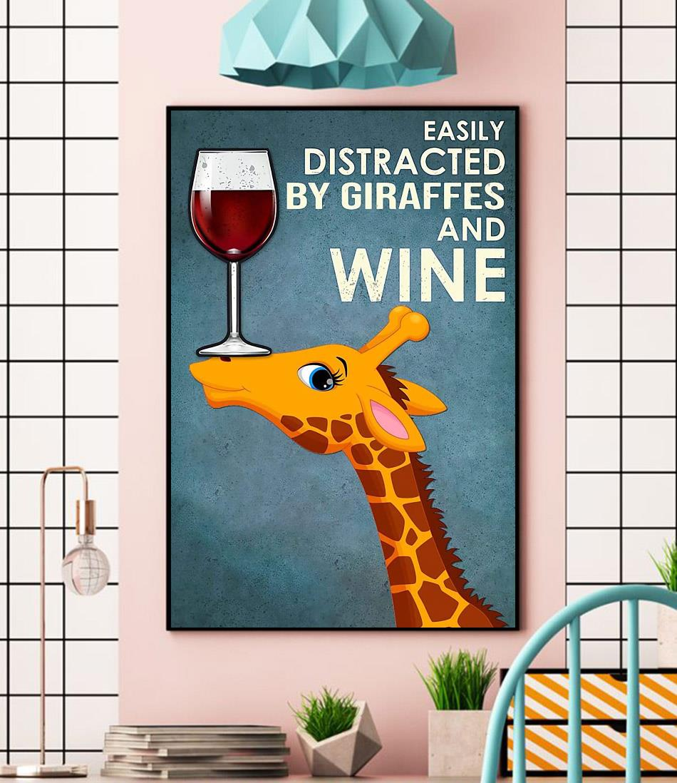 Easily distracted by Giraffes and wine canvas wall