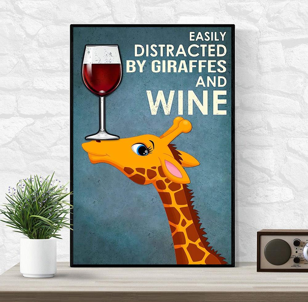 Easily distracted by Giraffes and wine canvas wrapped