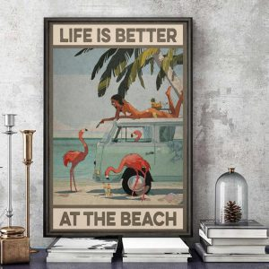 Flamingo life is better at the beach canvas art