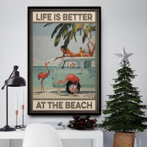 Flamingo life is better at the beach canvas