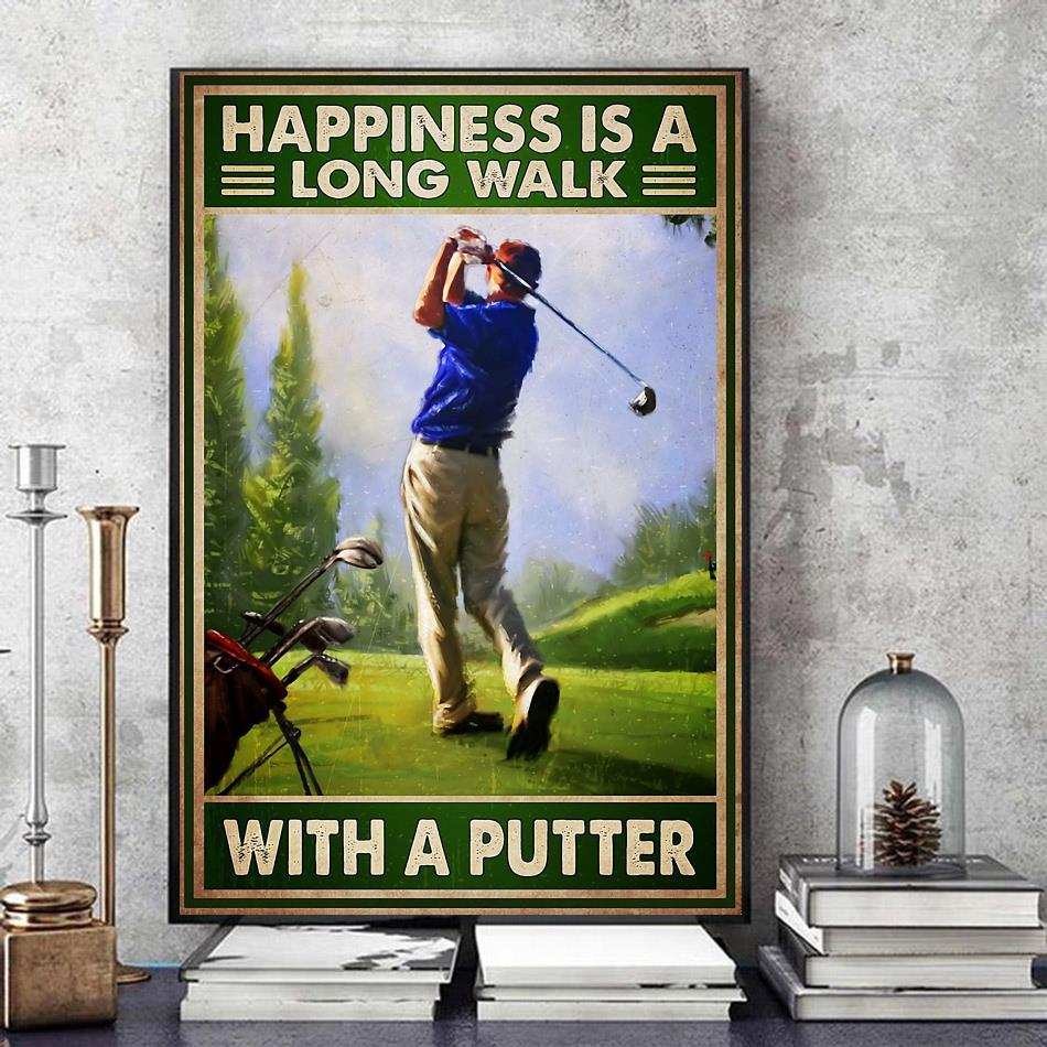 Happiness is a long walk with a putter wall art canvas art