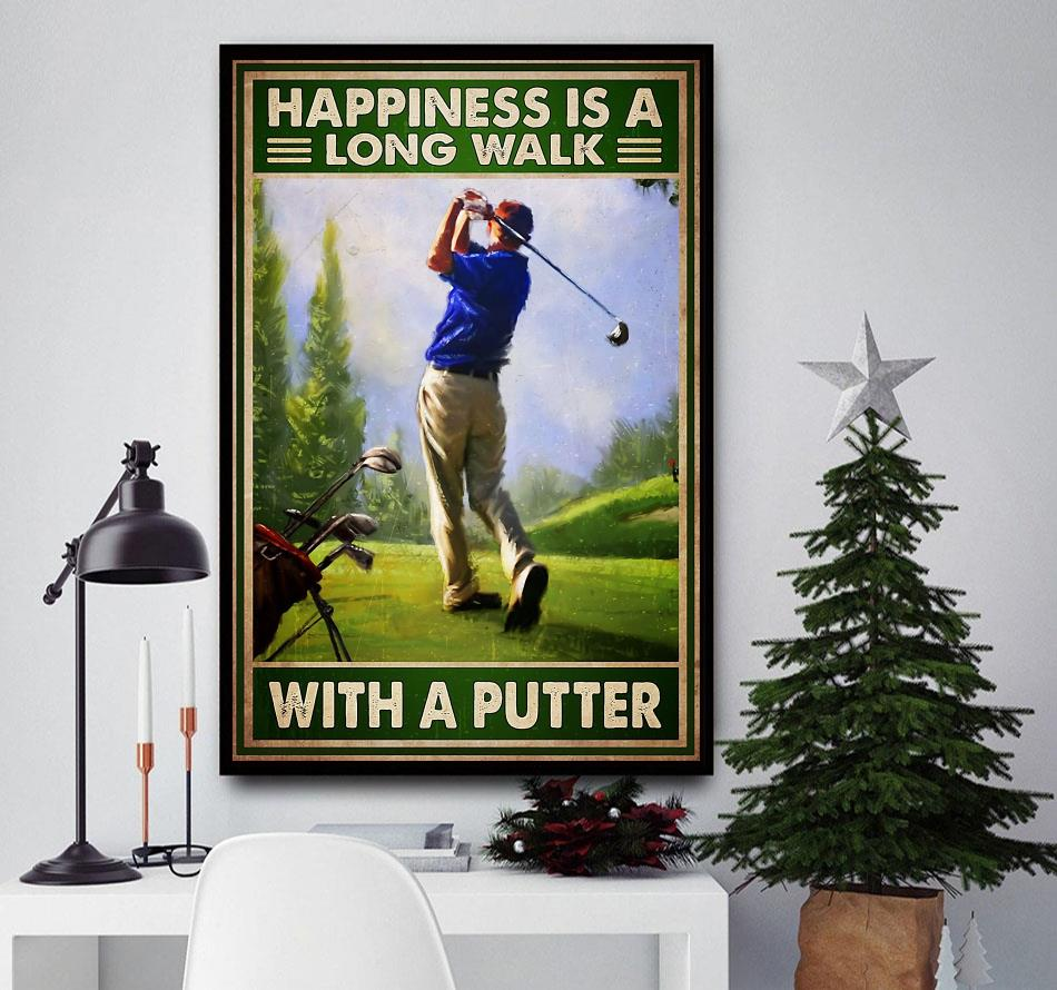 Happiness is a long walk with a putter wall art canvas