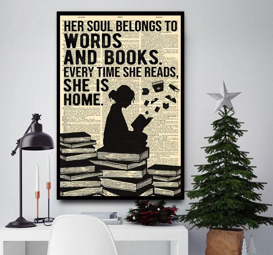 Her soul belongs to words and books wall art