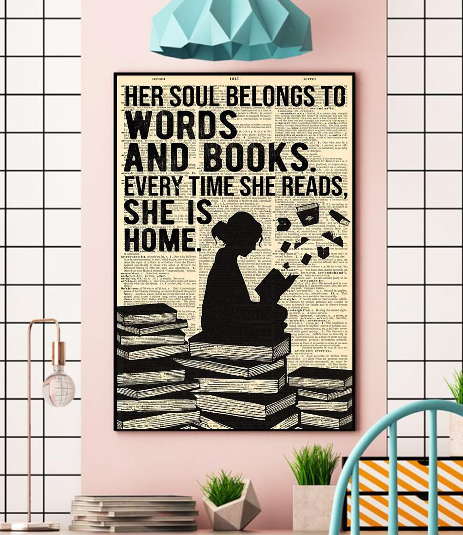 Her soul belongs to words and books wall art wall