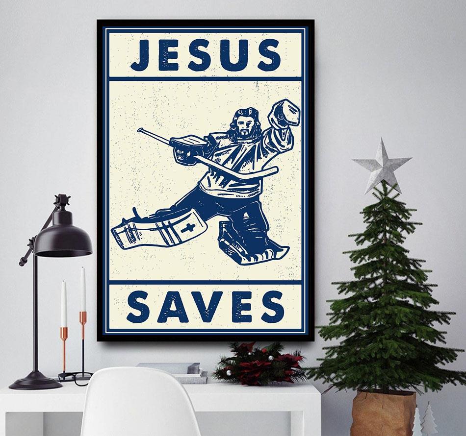 Hockey Jesus saves wall art