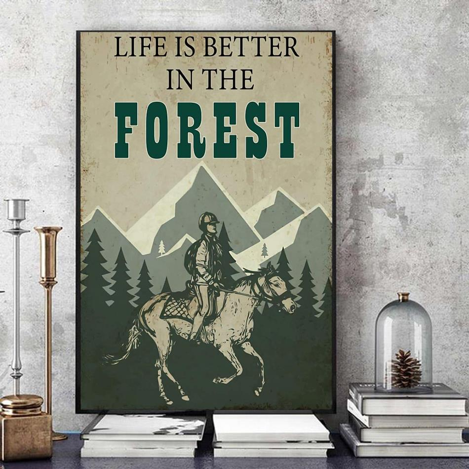 Horse riding life is better in the forest vintage canvas art