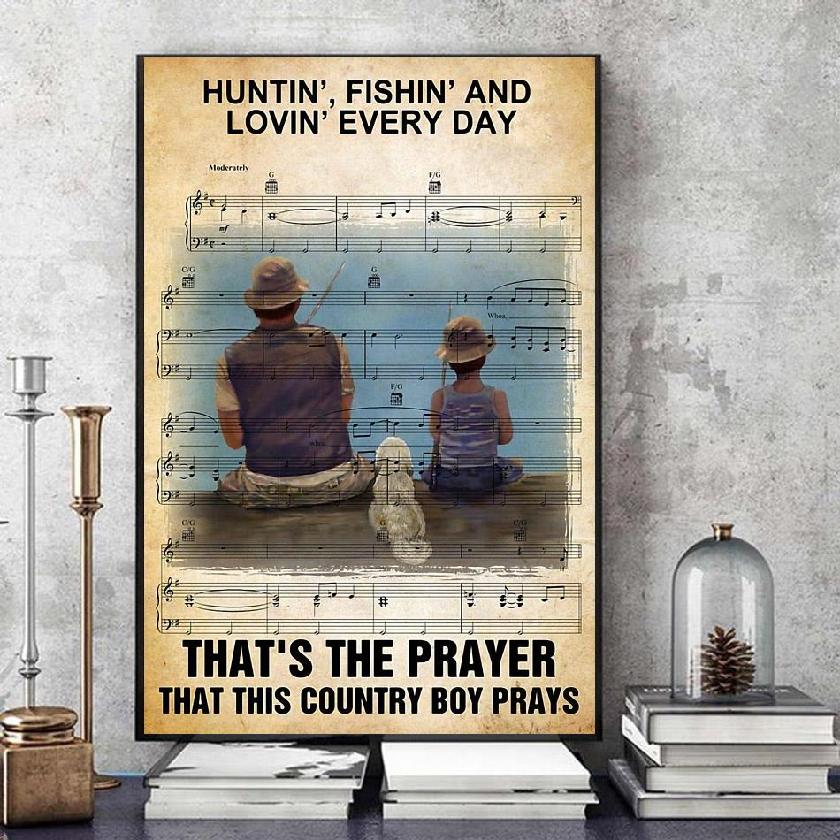Hunting fishing loving everyday that's the prayer canvas art