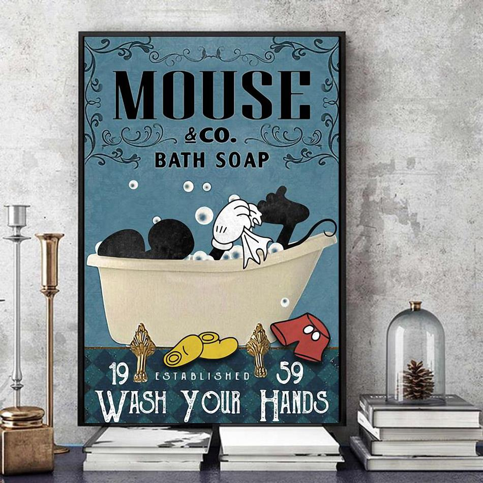 Mickey Disney bath soap wash your paws wrapped canvas