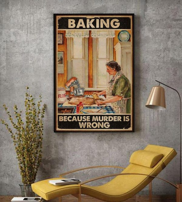 Old lady baking because murder is wrong canvas decor