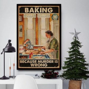 Old lady baking because murder is wrong canvas