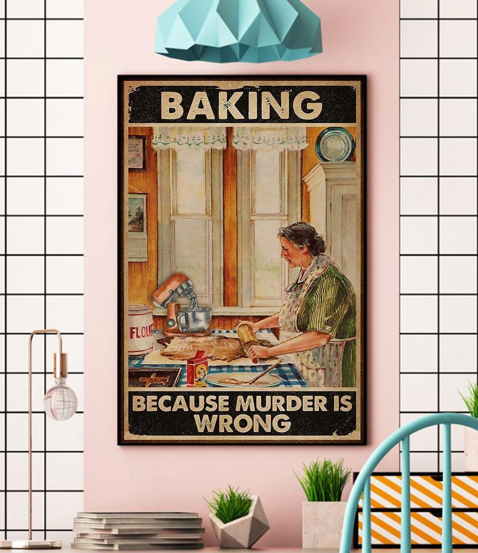 Old lady baking because murder is wrong canvas wall